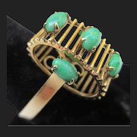 Unusual Modernist 14k Gold Jadeite Vintage Jade Ring