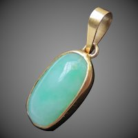 Fine Jade 18k Gold Jadeite Pendant