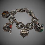 Wonderful Vintage Italian Etruscan Revival Silver Charm Bracelet