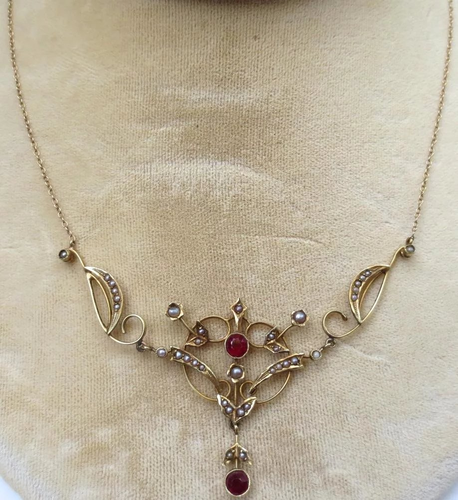chain ruby jewels pendant necklace antique pearl with india gold south