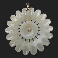 Antique Chinese Nephrite Jade & Diamond 14k Gold Flower Pendant