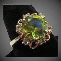 Vintage Peridot & Diamond Halo 10K Gold Cocktail Ring