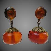 Vintage Amber Bead 12k Gold Filled Earrings