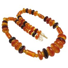 Lovely Faceted Natural Honey Butterscotch Amber Vintage Necklace