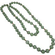 Fine 14k Gold Apple Jade Bead Necklace Strand