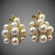 Unique Vintage 14k Gold Pearl Earrings