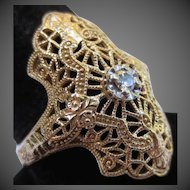 Vintage Diamond 14k Gold Filigree Ring