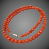Victorian Coral Beaded Necklace Antique Strand