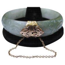 Exquisite Ming's Carved Jadeite Jade 14k Gold Bangle Bracelet