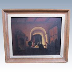 Antique Oil Painting of Clergy Figure Study & Globe Interior