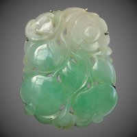 Antique Chinese Carved Jade Bat & Peach Fruit Amulet Sterling Silver Brooch