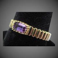 Vintage Amethyst 14k Gold Modernist Ring