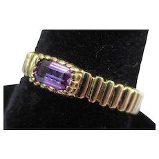 Amethyst 14k Gold Vintage Skal Ring