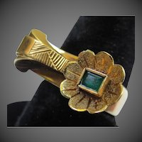 Unique 1940's 18K Gold Emerald Vintage Flower Ring