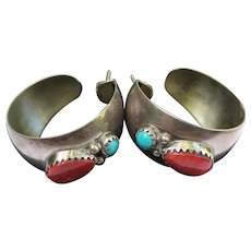 Turquoise & Coral Vintage Silver Hoop Earrings