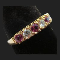 Beautiful Ruby & Diamond 14k Gold Wedding Ring Anniversary Band