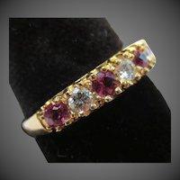 Beautiful Ruby & Diamond 14k Gold Wedding Ring Anniversary Band