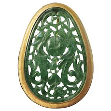 Fine Carved Jadeite Jade 14k Gold Chinese Dragon & Fruit Brooch / Pendant