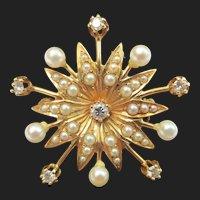 Lovely Starburst Sun 14k Gold Diamond & Pearl Pendant / Brooch