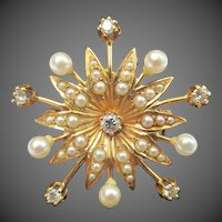 Lovely Starburst Sun 14k Gold Diamond & Pearl Pendant / Brooch