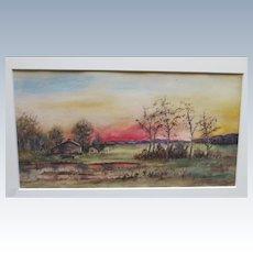 Antique Landscape Watercolor Painting Signed H. V. Robertson
