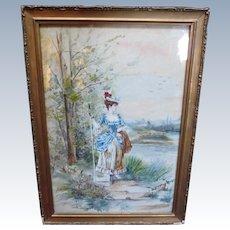 Victorian Figure Portrait Watercolor Antique Painting