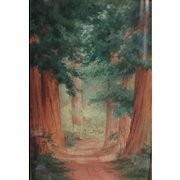 Victorian 1891 California Redwood Watercolor Painting by Amy Bell Delappe