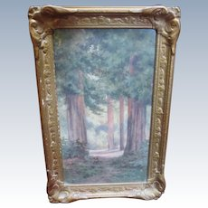 Antique California Redwood Armstrong Forest Watercolor Painting by Amy Bell Delappe