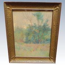 Lorenzo Palmer Latimer California Landscape Antique Watercolor Painting 1899