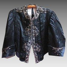 Victorian / Edwardian Silk Bodice Antique Blouse Lace & Buttons