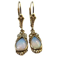 Lovely 14k Gold Opal & Pearl Drop Earrings