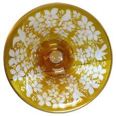 Lovely Engraved Bird & Berry Cut Pedestal Bowl Bohemian Glass