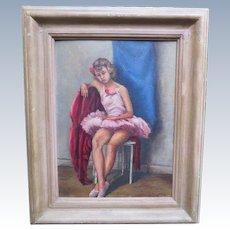 Sweet Vintage 1948 Oil Portrait Painting of Ballerina Dancer New York