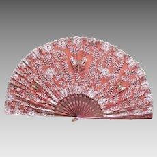 Superb Silk Victorian Lace Opera Fan Butterfly & Flowers
