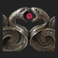 Superb Victorian William B. Kerr Sterling Silver Garnet Snake Belt Buckle