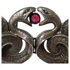 Superb Victorian William B. Kerr Sterling Silver Garnet Snake Belt Buckle