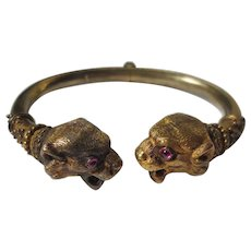 Fierce Victorian Etruscan Revival Tiger Head Bracelet