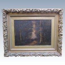Antique French Oil Painting Narcisse Virgil Diaz De La Pena Fontainebleau Forest Barbizon School