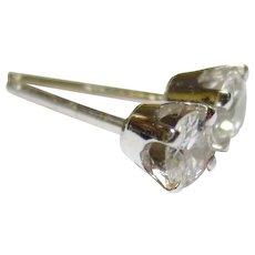 Vintage 14k White Gold Diamond Earring Studs