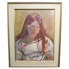 Vintage Mid Century Portrait Painting of Young Lady California 1966