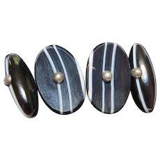 Elegant Silver Scottish Bullseye Banded Agate Victorian Cufflinks