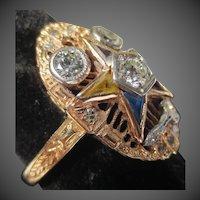 Spectacular Art Deco Order of the Eastern Star Masonic 14K Gold Diamond Ring