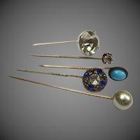 Antique Victorian Paste Silver Turquoise Stickpin trembler Hat Pin