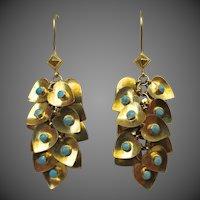 Fabulous 22k Gold Persian Turquoise Chandelier Heart Earrings