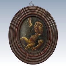 18th Century Pirate Buccaneer Oil Painting Miniature