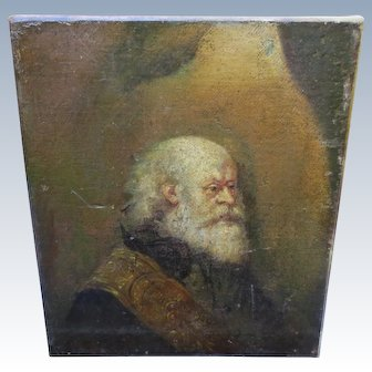 Antique Gentleman Rembrandt School 17th Century Nobleman Portrait Painting