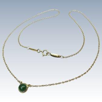 Tiffany & Co 18k Gold Jadeite Jade Necklace Elsa Peretti