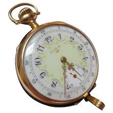Antique Elgin 14K Gold Pocket Watch Pendant Enamel Keystone Watch Co.