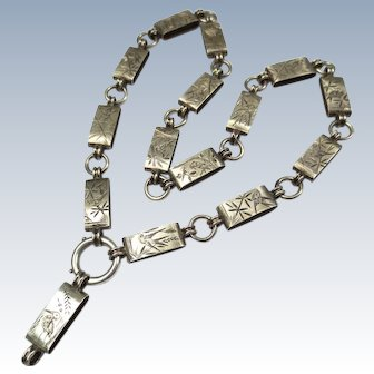 Victorian Silver Book Chain Necklace Aesthetic Movement Bird Crane Swallow Locket Collar