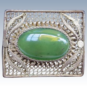 Vintage 1940's Chinese Silver Jade Brooch